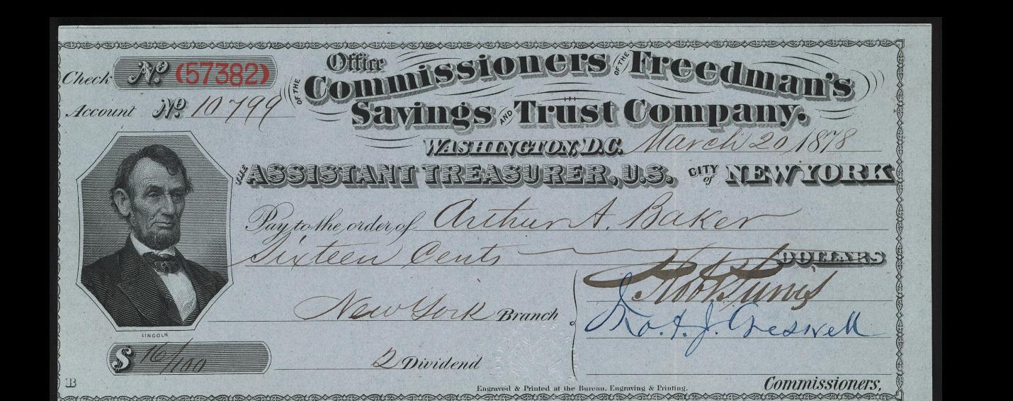 Freedman's Bank check
