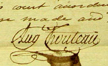 Signature of St. Louis founder, Auguste Chouteau